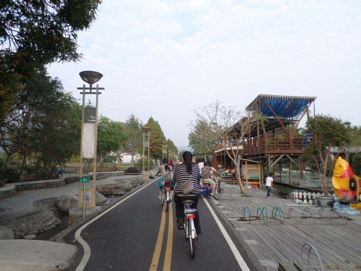 biking towards the bridge