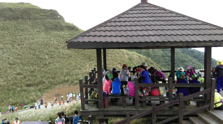 crowded pavilion at the top