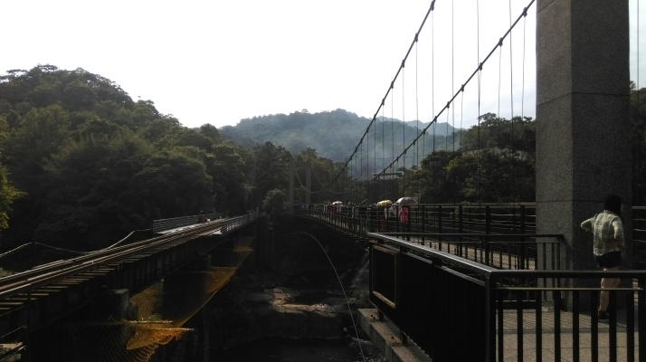 suspension bridge to Shifen Waterfall