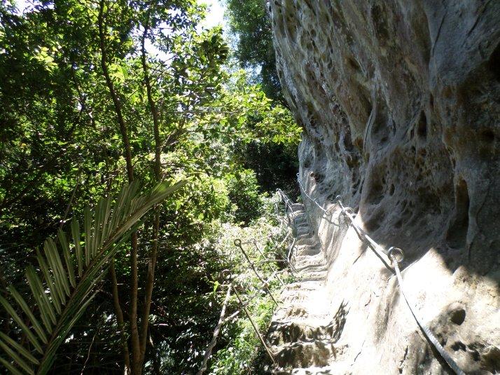descending along the cliff