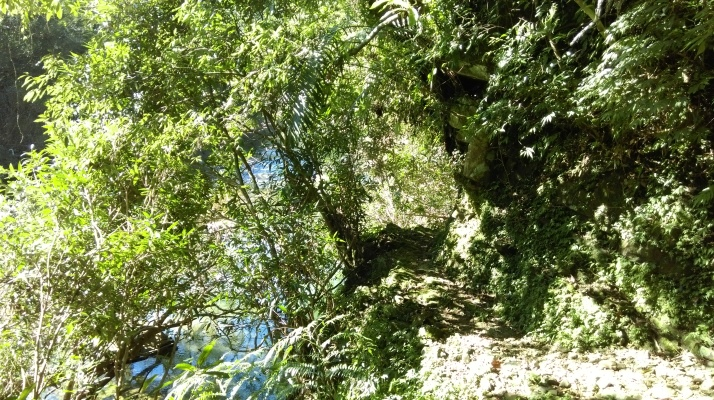trail along a narrow ledge