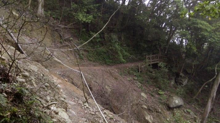 crossing a landslide